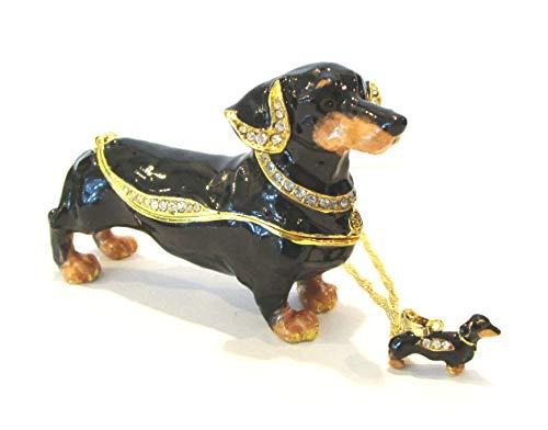- Kingspoint Black Dachshund Dog Jeweled Trinket Box w Matching Pendant Necklace