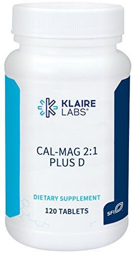 Klaire Labs (ProThera) Cal-Mag 2:1 Plus D - Calcium, Magnesium Chelate Complex & Vitamin D3 for Bone Support (120 Tablets)