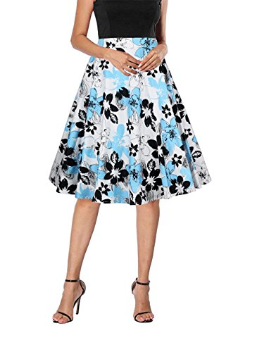 Yanmei Women's Vintage 50s Theme Party Skirt Cotton Summer Skirt with Floral Print White Large 1086-10