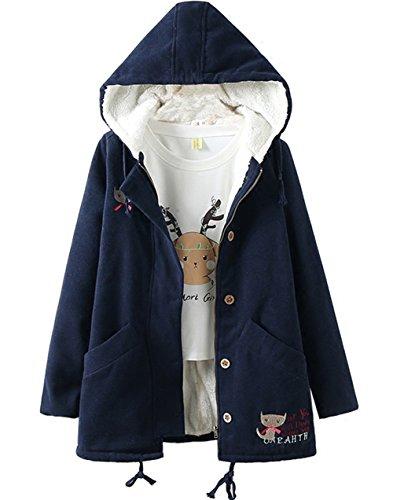 Girl's Winter Cute Cat Embroidered Tweed Hooded Fleece Coat Jacket (Navy Blue, (Embroidered Fleece Cardigan)