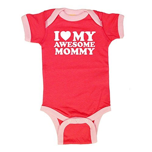 Mashed Clothing I Love (Red Heart) My Awesome Mommy - Mommy Gift Mother's Day - Ringer Baby Bodysuit (Hot Pink/Pink, 12 Months)