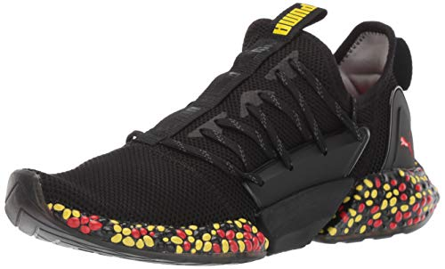PUMA Men's Hybrid Rocket Runner Sneaker Black-Blazing Yellow-high Risk red, 10 M US