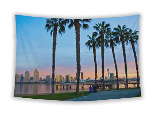 Gear New Wall Tapestry For Bedroom Hanging Art Decor College Dorm Bohemian, San Diego From Ferry Landing In Coronado, 80x68 - Coronado Hanging