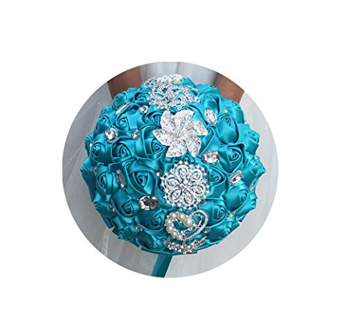 (Artificial-Flowers Artificial Wedding Bouquets Hand Made Flower Rhinestone Bridesmaid Crystal Bridal Wedding Bouquet De Mariage,18Cm Peacock Blue)