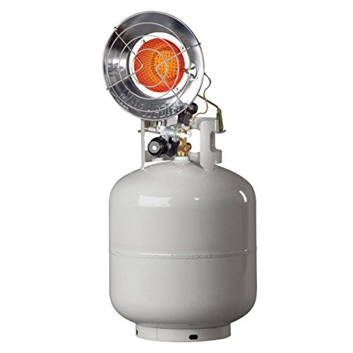 Mr. Heater F242100 MH15T 10000-15000 BTU tanktop propane heater radiantly with the loss of heat to the air without electricity