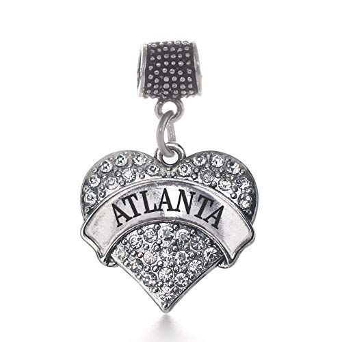Inspired Silver - Atlanta Memory Charm for Women - Silver Pave Heart Charm for Bracelet with Cubic Zirconia Jewelry