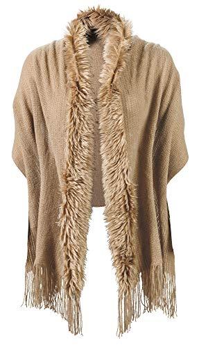 - Women's Faux Fur Trimmed Shawl - Soft Knit Faux Fur Edged Wrap Scarf - Light Brown
