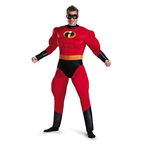 Disguise Men's Plus Size Mr. Incredible Deluxe Muscle Adult Costume, red, XXL (50-52) ()