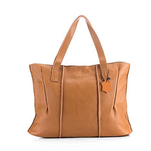Women's Fashion Genuine Leather Tote Bag Casual Large Top Handle Satchel Handbags Purses (KHAKI)