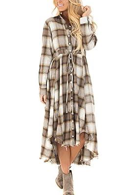 BBX Lephsnt Womens Dress New Buttons Plaids Shirt Irregular Hem Single Breasted Casual Shirt Dress With Pocket