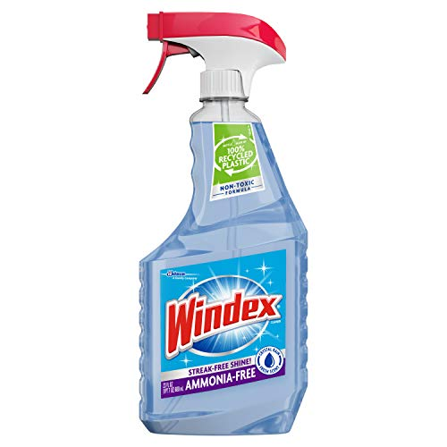 Windex Ammonia-Free Glass Cleaner Trigger Bottle, Crystal Rain, 23 Fl Oz