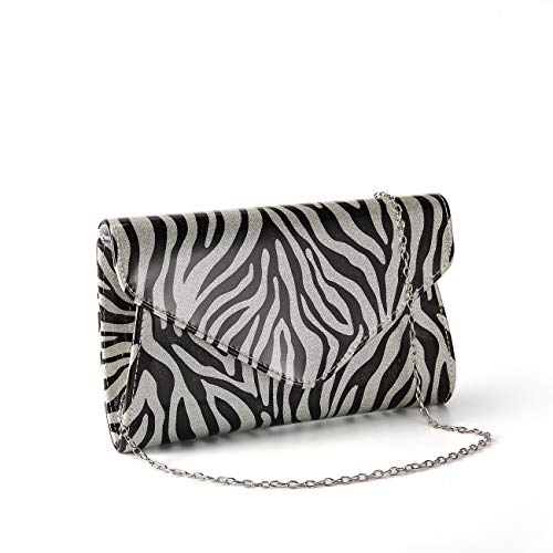 GESU Zebra Print Patent Leather Envelope Clutch Shoulder Bag for Women. (black and white-zebra) ()