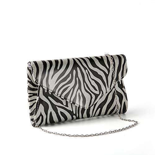 GESU Zebra Print Patent Leather Envelope Clutch Shoulder Bag for Women. (black and ()