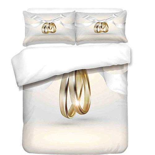 er Set,Wedding,Golden Colored Wedding Rings with Ribbon Marriage Icon Realistic Celebration Photo,White Gold,Best Bedding Gifts for Family/Friends, ()