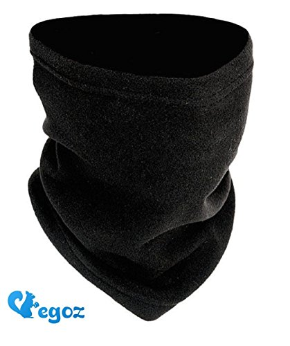 Egoz 4-in-1 Micro Fleece Polar Neck Warmer/Face Mask/Hat Snood/Scarf Military Fleece Neck Warm Face Warmer Black Thermal Ski Snowboard Cycling Sports Genuine (Black)