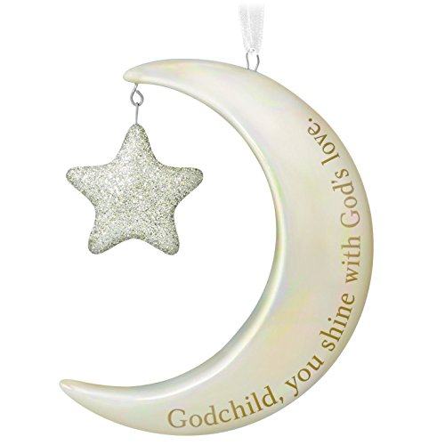 Hallmark Keepsake 2017 Godchild, You Shine Moon and Stars Porcelain Dated Christmas (Heavens Blessings Porcelain)