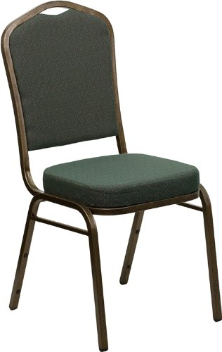 UPC 812581010459, 4 Pack Green Fabric Goldvein Frame Crown Back Banquet Chair,Hercules™ Series Crown Back Stacking Banquet Chair with Goldvein Frame and 2-1/2''Thick Seat