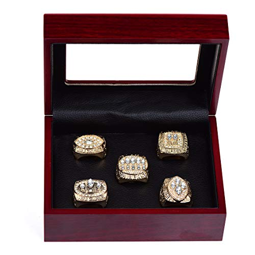 HASTTHOU 5 PCS Sets 1981 1984 1988 1989 1994 San Francisco 49ers Championship Replica Ring by Display Box Set- Fashion Gorgeous Collectible ()