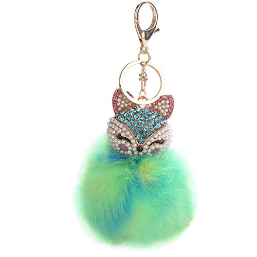 HXINFU Real Rabbit Fur Pompom Ball Fox Head Keychain For Women Bag Decoration ()