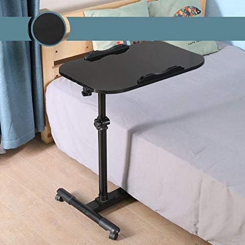 炭素鋼 オフィステーブル 黒MDF 付き,ベッドテーブル 高さ調節可能、360°スイベル、180°チルト、L