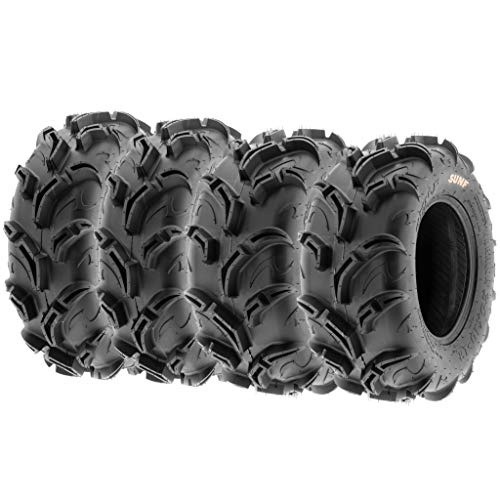 (Set of 4 SunF Warrior AT Mud & Trail 27x9-12 Front & 27x11-12 Rear ATV UTV Off-Road Tires, 6 PR, Tubeless A048)