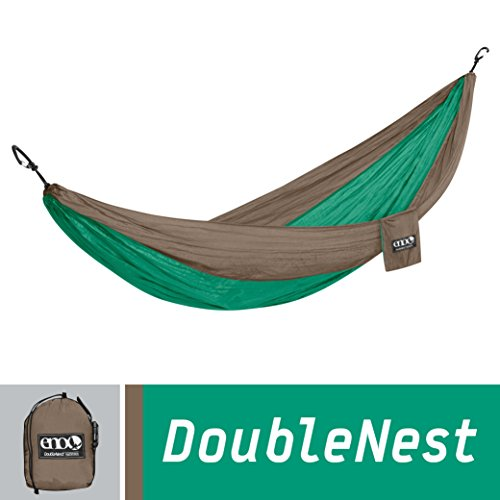 ENO Eagles Nest Outfitters – DoubleNest Hammock, Portable Hammock for Two, Emerald/Khaki