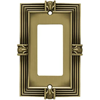 Franklin Brass 64473 Pineapple Single Decorator Wall Plate / Switch Plate / Cover, Tumbled Antique Brass