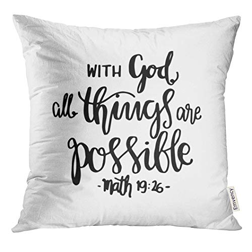 Golee Throw Pillow Cover Religious All Things Are Possible Quote Modern Calligraphy Bible Verse Faith Believe Decorative Pillow Case Home Decor Square 20x20 Inches Pillowcase