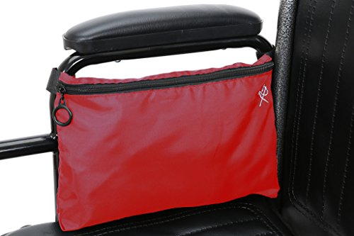 Pembrook Wheelchair Pouch Bag - Red - Great simple accessory pack for your mobility devices. Fits most Scooters, Walkers, Rollators - Manual, Powered or Electric Wheelchairs - Drive Wheelchair Tray