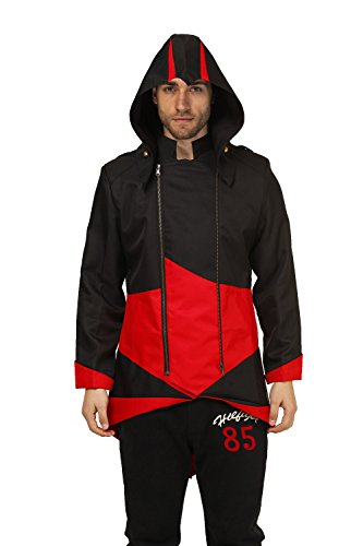 Assasins Creed Kids Costumes (Goodsaleok Cosplay Jacket with Detachable Hood, Men-Small, Black and Red)