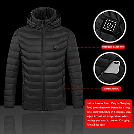 Black,2Xl;Style:Coat Motorcycle Camping Mahhala Heated Vest Electric Body Warmer Unisex Heating Jacket,Men Women Electric Heating Vest USB Heated Hooded Coat Tops Outwear for Hunting