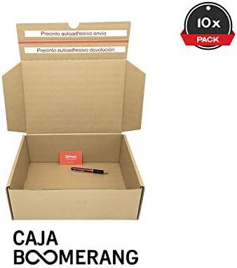 Cajeando | Pack de 10 Cajas de Cartón para Envíos (Caja Boomerang Doble Envío) | Tamaño