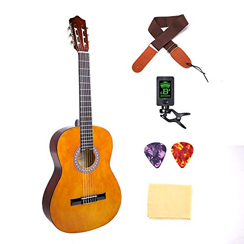 Classical Guitar 3/4 Size 36 inch Kids Guitar Acoustic Guitar for Beginners 6 Nylon Strings Guitar Starter Kits with Guitar Clip Tuner Strap Picks Wipe NO BAG - Nylon String Guitar Tuner