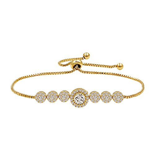 (WeimanJewelry Round Cut CZ Cubic Zirconia Crystal Bridal Adjustable Chain Bracelet for Women (Gold))