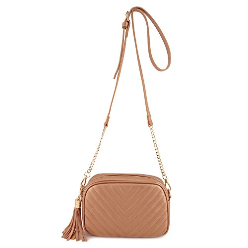 Simple Shoulder Crossbody Bag With Metal Chain Strap And Tassel Top Zipper (Rose ()