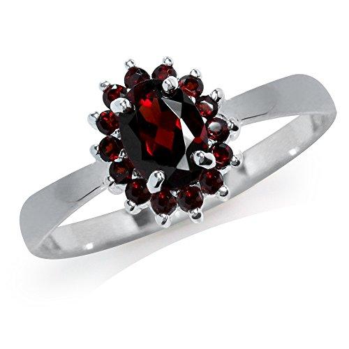 (1.26ct. Natural Garnet 925 Sterling Silver Cluster Ring Size 8 )