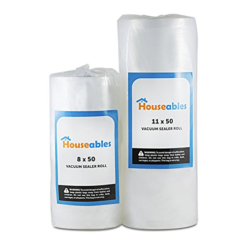 Vacuum Sealer Rolls Two (2), Large 11 x 50' & 8 x 50' Combo