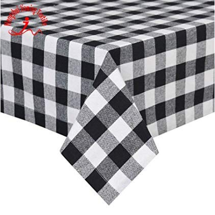It's Good to be Home - 60 x 108 Inch - Gorgeous High End Quality, 100% Cotton Black Rectangular Buffalo Check Plaid Tablecloth for Dinner, Long Table Buffet Table, Birthday Party Special Occasion, Tha ()