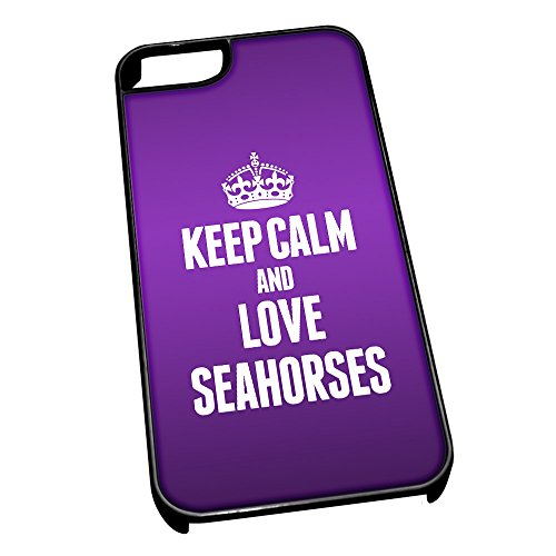 Nero cover per iPhone 5/5S 2479 viola Keep Calm and Love Seahorses