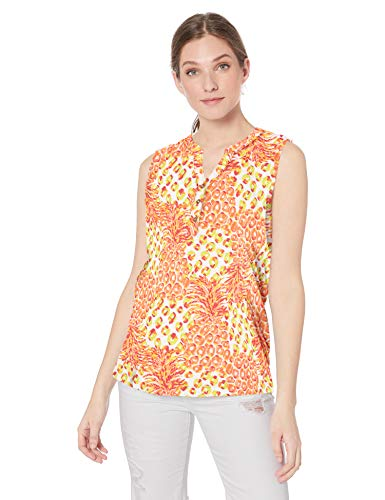 Jason Maxwell Women's Sleeveless Placket Printed Top, Cabaret/Pineapple Fever, ()