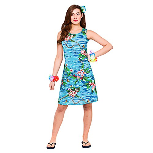 Ladies Orchid Ocean Dress Hawaiian Luau Fancy Dress Up BBQ Party Costume Outfit