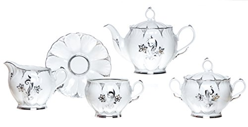 6' China Saucer - POLINA 15-Piece TEA Set, White Porcelain, Silver Decorated (for 6)