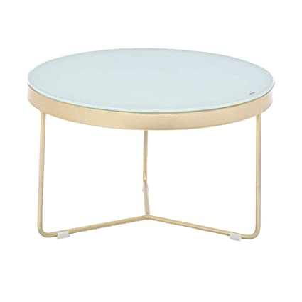 Perfect Furniture CSQ Tempered Glass Coffee Table, Household Small Round  Table Gold Iron Art Sofa