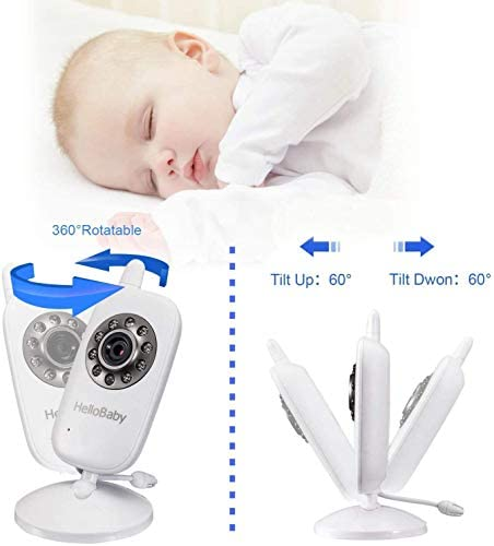 417%2BznEgunL. AC Video Baby Monitor with Camera and Audio   Keep Babies Nursery with Night Vision, Talk Back, Room Temperature, Lullabies, 960ft Range and Long Battery Life    Hellobaby Video Baby Monitor HB32 - REACH FEATURES