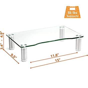 Clear Tempered Glass Computer Monitor Riser with Height Adjustable Multi Media Desktop Stand for Flat Screen LCD LED TV, Laptop/Notebook/Xbox One,HD01T-002