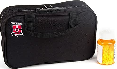 Medicine Safe MTB-1 TSA Approved Locking Toiletry Organizer and Medication Travel Bag for Men and Women, Small Carry On, Non-Hanging, Black with Logo, 10.2 x 7.5 x 1.6 inches