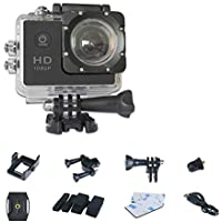 Mengshen 1080P Action Camera, Mini Waterproof Sport DV with 2 Inch TFT LCD and 120°Wide Angle Lens for Beach/ Adventure/ Hiking 510C3 Black