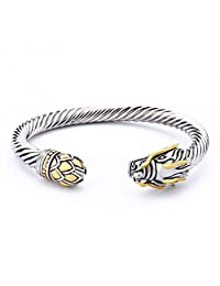 UNY Jewelry NEW Design Chinese Dragon Rhodium plated Bracelet Cuff Bangle Vintage Cable Classics Bracelet