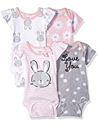 Baby Girls' 4-Pack Short-Sleeve Onesies Bodysuit
