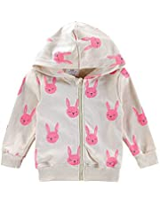 BIBNice Toddler Little Girls Jacket Coat Kids Long Sleeve Hoodie Winter Outfits Full Zip Clothes Rabbit Size 5T